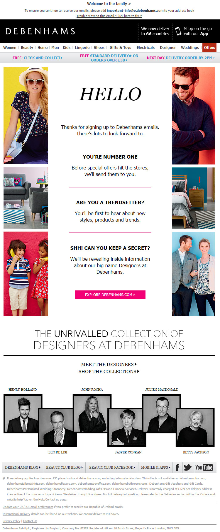 Debenhams Welcome Email