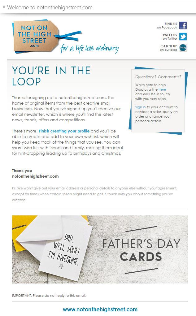 notonthehighstreet.com Welcome Email