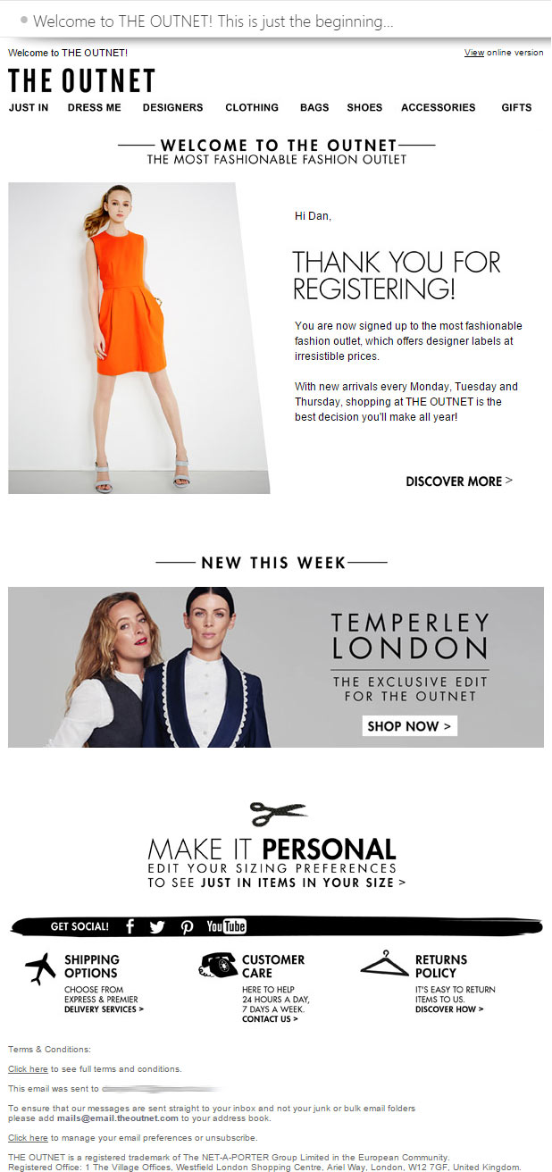The Outnet Welcome Email