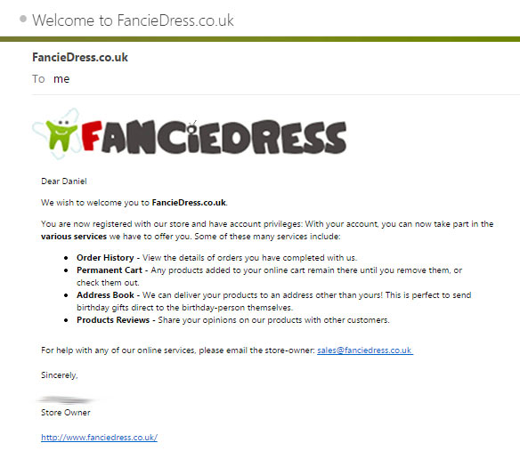 FancieDress Welcome Email