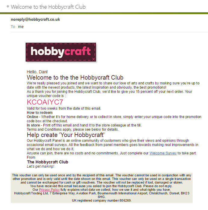 Hobbycraft Welcome Email